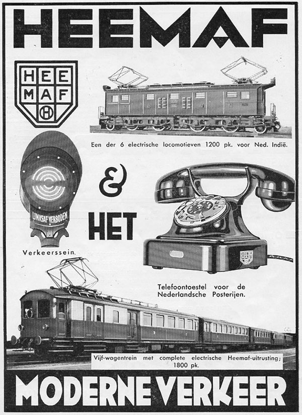 Advertentie van de Heemaf in het tijdschrift De Ingenieur, 1932.