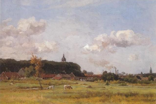 Panorama van Almelo van schilder Willem Oppenoorth. Op de achtergrond de eerste fabrieksschoorstenen van de stad.