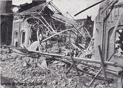 Ontploft ketelhuis van de mijn Laura in Limburg, 1908. Foto limburgsemijnen.nl