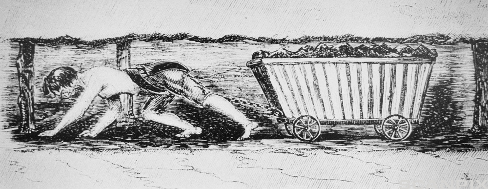 Child miner. Historical engraving of a girl hauling a truck of coal through a mine. The Industrial Revolution in England led to this type of child labour in the 19th century. Children as young as 6 years old were expected to haul trucks of coal weighing up to 250 kg underground in a coal mine for up to 14 hours per day. Illustration taken from a government report of 1842.