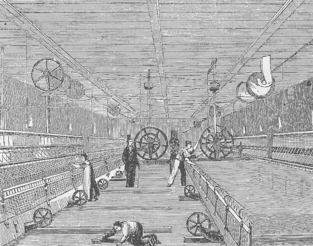 gravure spinnerij arbeiders mule jenny