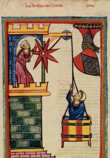 kraan met katrol in de Codex Manesse.