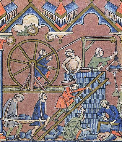 kraan met tredmolen in de Maciejowski Bijbel.